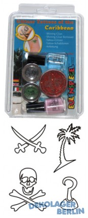 EULENSPIEGEL Glitzer Tattoo Set Caribbean Hawaii Piraten Beachparty