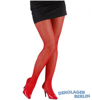 Strumpfhose Einfarbig Rot Als Netzstrumpfhose Fasching Karneval