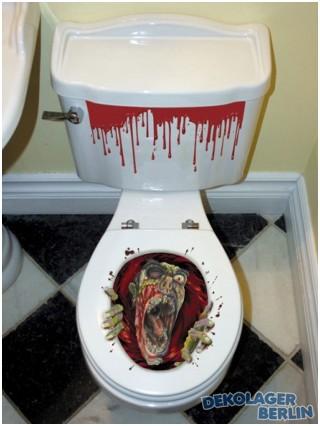 halloween toiletten deko mit zombie und blut horror wc dekoration badezimmer. Black Bedroom Furniture Sets. Home Design Ideas