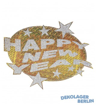 Silvester Deko Happy new year holographisch gold/silber
