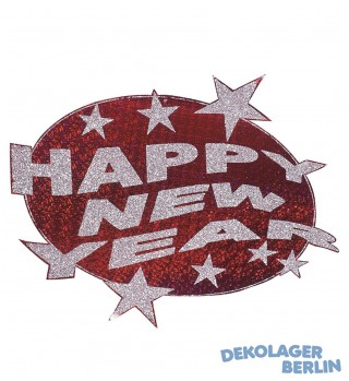 Silvester Deko Happy new year holographisch rot/silber