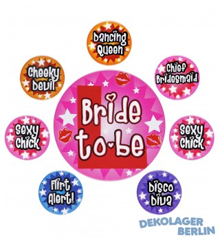 8 Buttons für die Hen Night oder Bachelorette Party