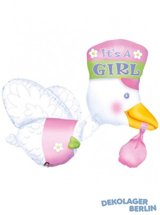 Storch in pink mit It?s a Girl Folienballon 81cm